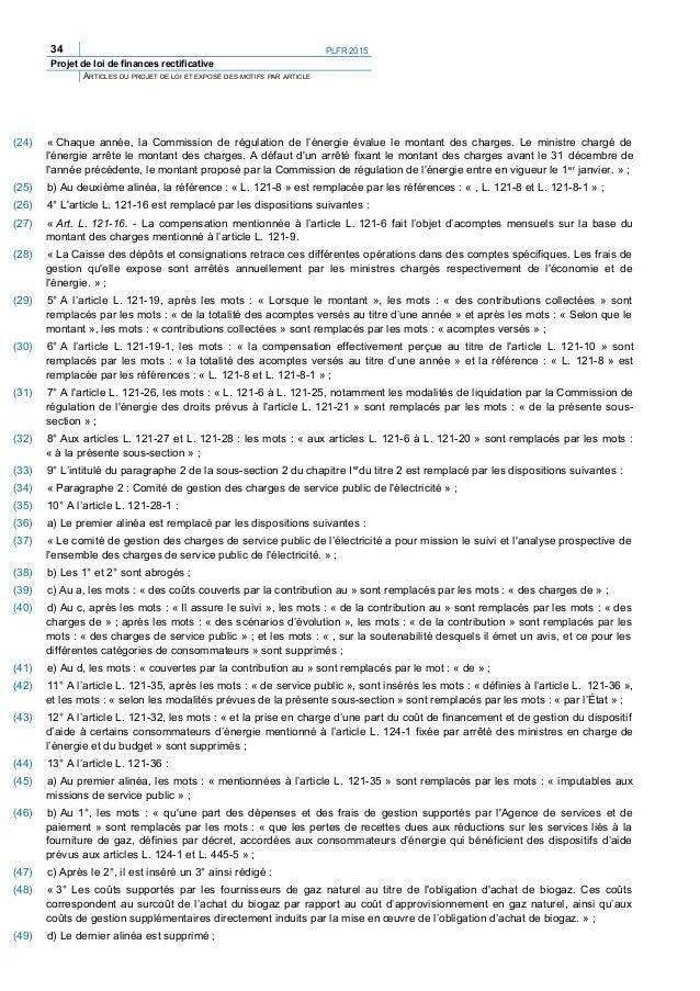 PLFR 2015 37 Projet de loi de finances rectificative ARTICLES DU PROJET DE LOI ET EXPOSÉ DES MOTIFS PAR ARTICLE TITRE II :...