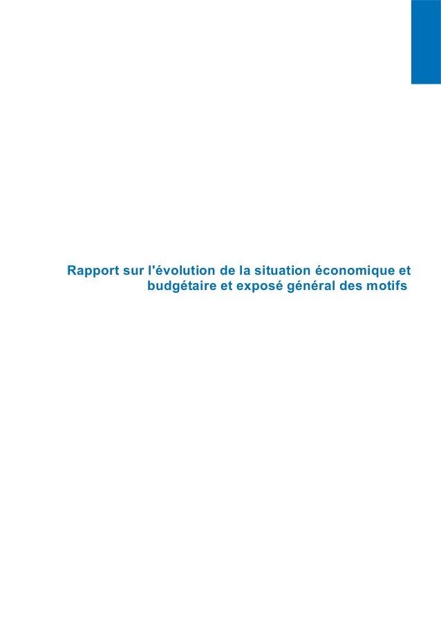 PLFR 2015 11 Projet de loi de finances rectificative RAPPORT SUR L'ÉVOLUTION DE LA SITUATION ÉCONOMIQUE ET BUDGÉTAIRE ET E...