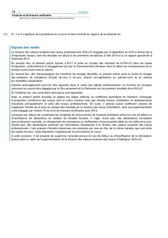Le projet de loi de finances rectificative pour 2015