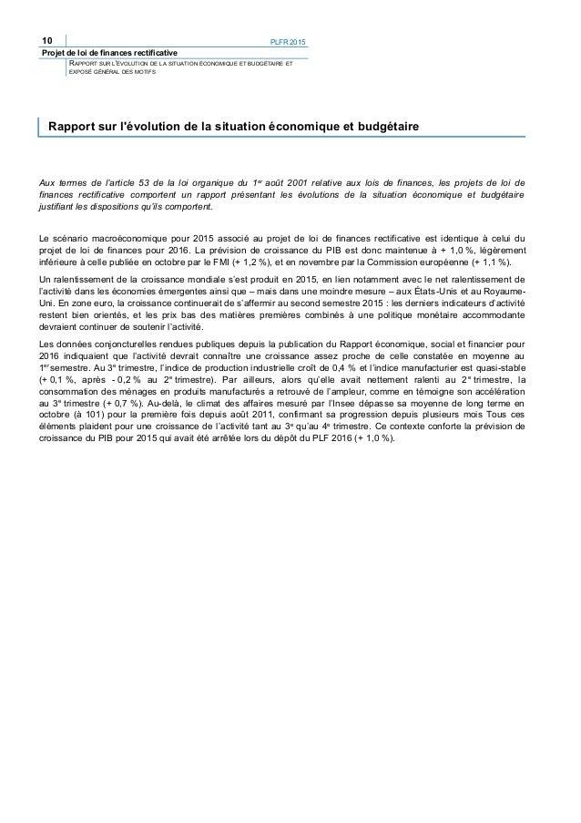 12 PLFR 2015 Projet de loi de finances rectificative RAPPORT SUR L'ÉVOLUTION DE LA SITUATION ÉCONOMIQUE ET BUDGÉTAIRE ET E...