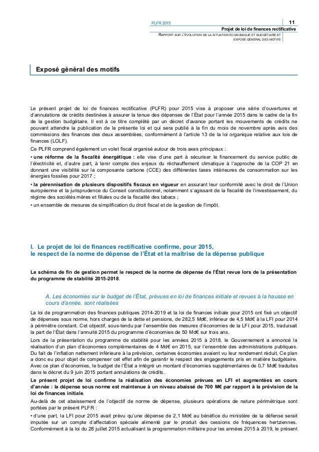 PLFR 2015 13 Projet de loi de finances rectificative RAPPORT SUR L'ÉVOLUTION DE LA SITUATION ÉCONOMIQUE ET BUDGÉTAIRE ET E...