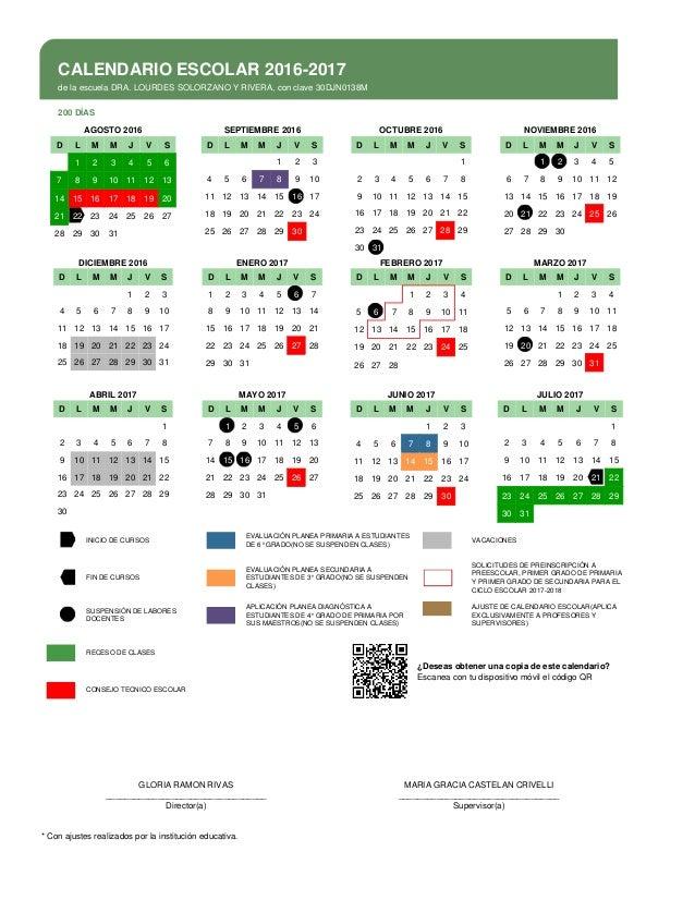 CALENDARIO ESCOLAR 2016-2017de la escuela DRA. LOURDES SOLORZANO Y ...