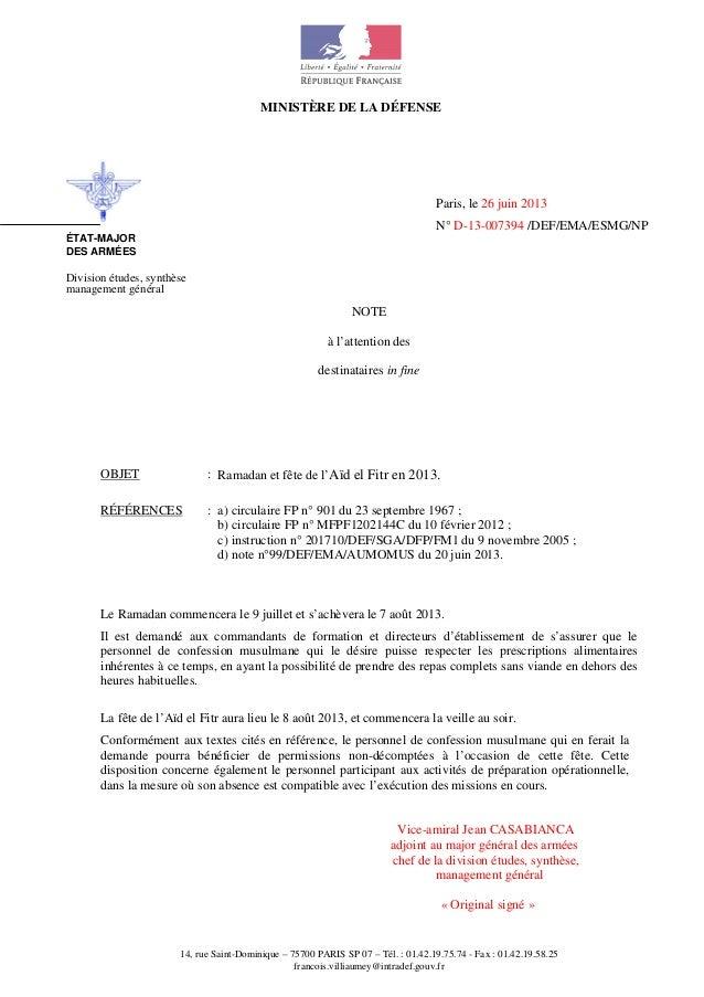 MINISTÈRE DE LA DÉFENSE 14, rue Saint-Dominique – 75700 PARIS SP 07 – Tél. : 01.42.19.75.74 - Fax : 01.42.19.58.25 francoi...