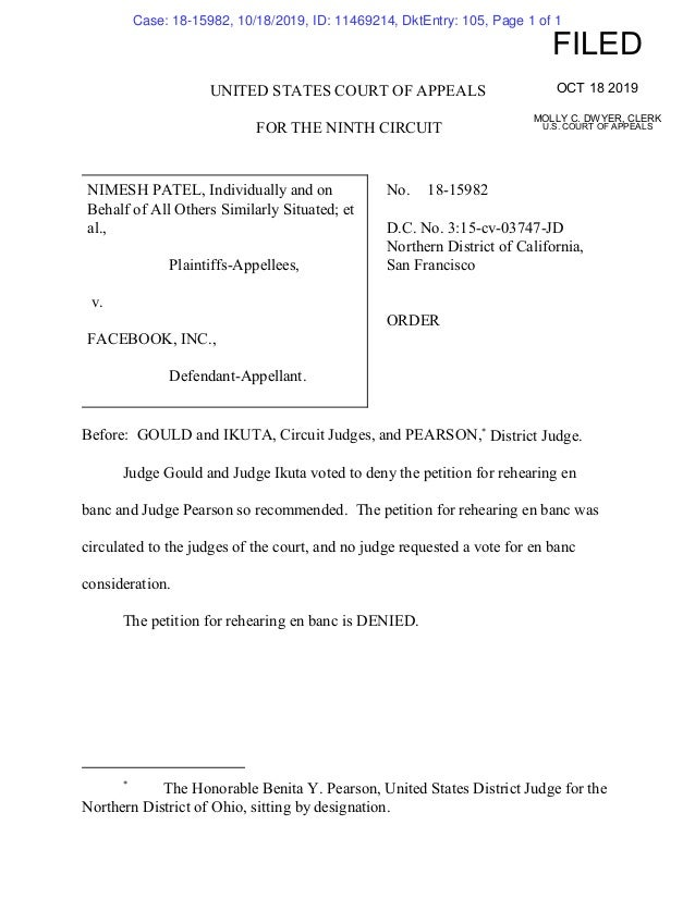 UNITED STATES COURT OF APPEALS FOR THE NINTH CIRCUIT NIMESH PATEL, Individually and on Behalf of All Others Similarly Situ...