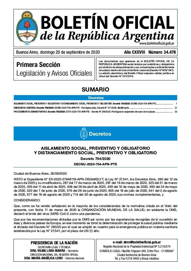 Primera Sección Legislación y Avisos Oficiales Los documentos que aparecen en el BOLETÍN OFICIAL DE LA REPÚBLICA ARGENTINA...