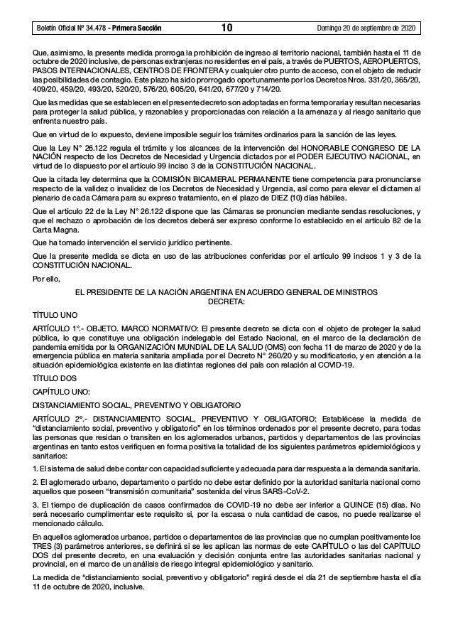 Boletín Oficial Nº 34.478 - Primera Sección 10 Domingo 20 de septiembre de 2020 Que, asimismo, la presente medida prorro...