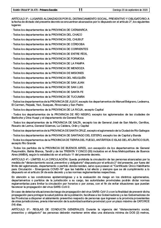 Boletín Oficial Nº 34.478 - Primera Sección 11 Domingo 20 de septiembre de 2020 ARTÍCULO 3º.- LUGARES ALCANZADOS POR EL ...