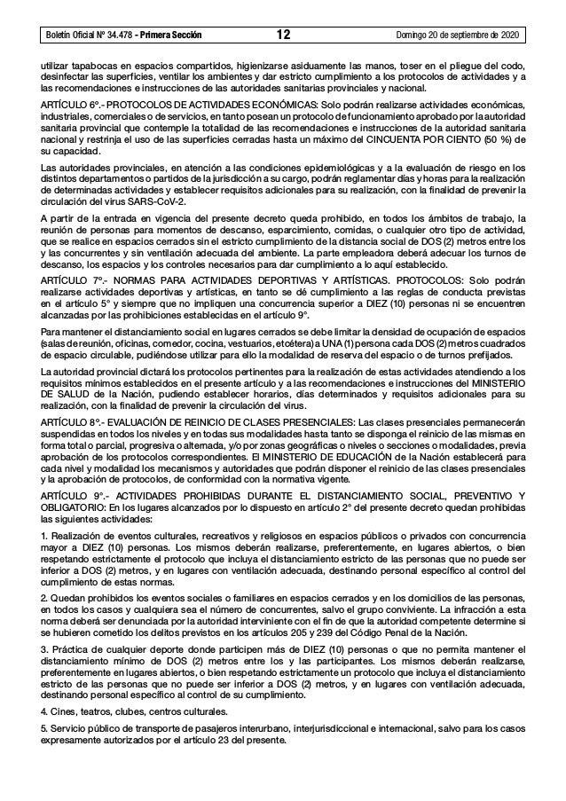 Boletín Oficial Nº 34.478 - Primera Sección 12 Domingo 20 de septiembre de 2020 utilizar tapabocas en espacios compartid...