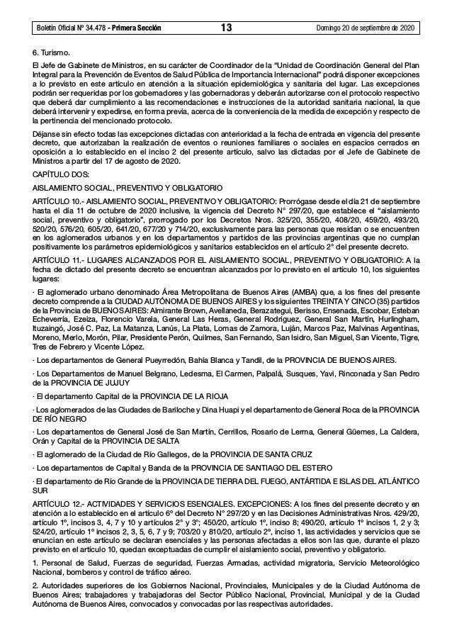 Boletín Oficial Nº 34.478 - Primera Sección 13 Domingo 20 de septiembre de 2020 6. Turismo. El Jefe de Gabinete de Minis...