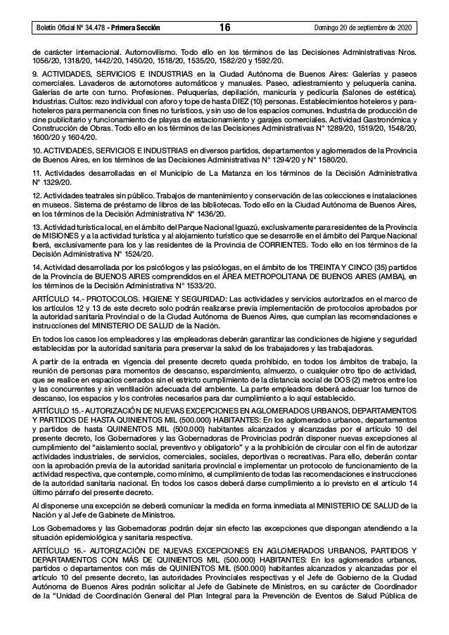 Boletín Oficial Nº 34.478 - Primera Sección 16 Domingo 20 de septiembre de 2020 de carácter internacional. Automovilismo...