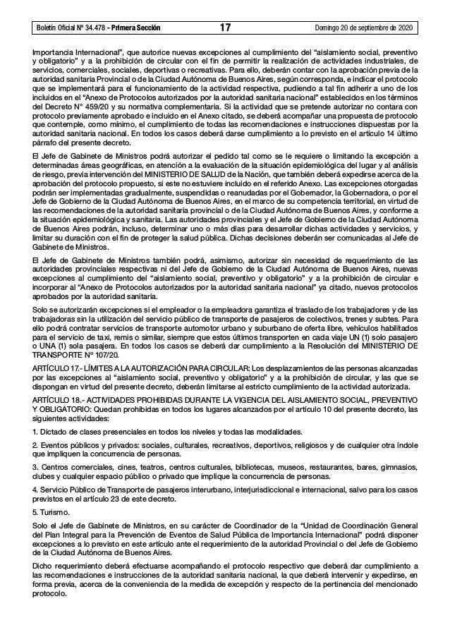 """Boletín Oficial Nº 34.478 - Primera Sección 17 Domingo 20 de septiembre de 2020 Importancia Internacional"""", que autorice..."""