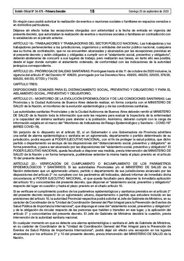 Boletín Oficial Nº 34.478 - Primera Sección 18 Domingo 20 de septiembre de 2020 En ningún caso podrá autorizar la realiz...