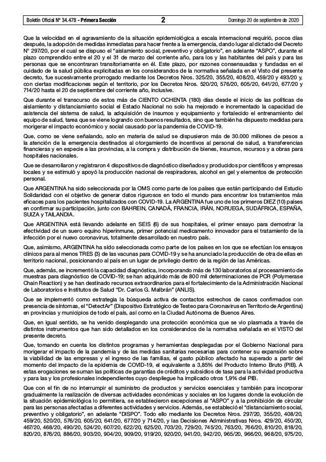 Boletín Oficial Nº 34.478 - Primera Sección 2 Domingo 20 de septiembre de 2020 Que la velocidad en el agravamiento de la...