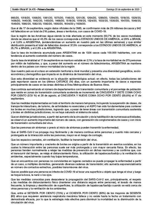 Boletín Oficial Nº 34.478 - Primera Sección 3 Domingo 20 de septiembre de 2020 995/20, 1018/20, 1056/20, 1061/20, 1075/2...