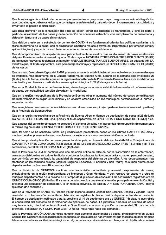 Boletín Oficial Nº 34.478 - Primera Sección 4 Domingo 20 de septiembre de 2020 Que la estrategia de cuidado de personas ...