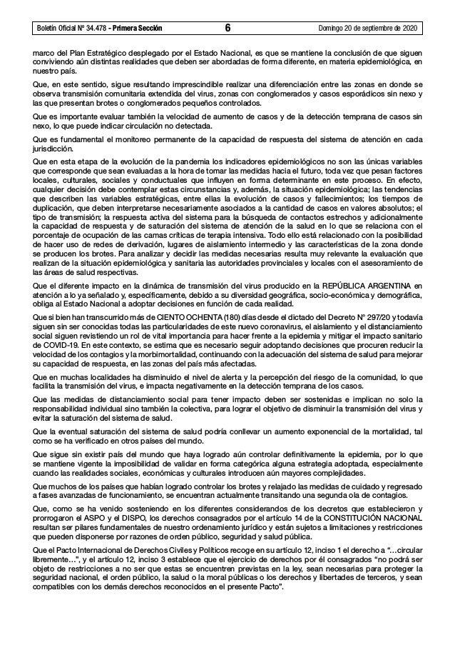 Boletín Oficial Nº 34.478 - Primera Sección 6 Domingo 20 de septiembre de 2020 marco del Plan Estratégico desplegado por...