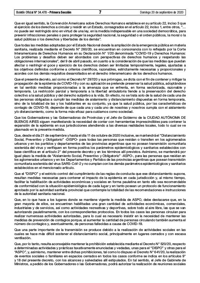 Boletín Oficial Nº 34.478 - Primera Sección 7 Domingo 20 de septiembre de 2020 Que en igual sentido, la Convención Ameri...