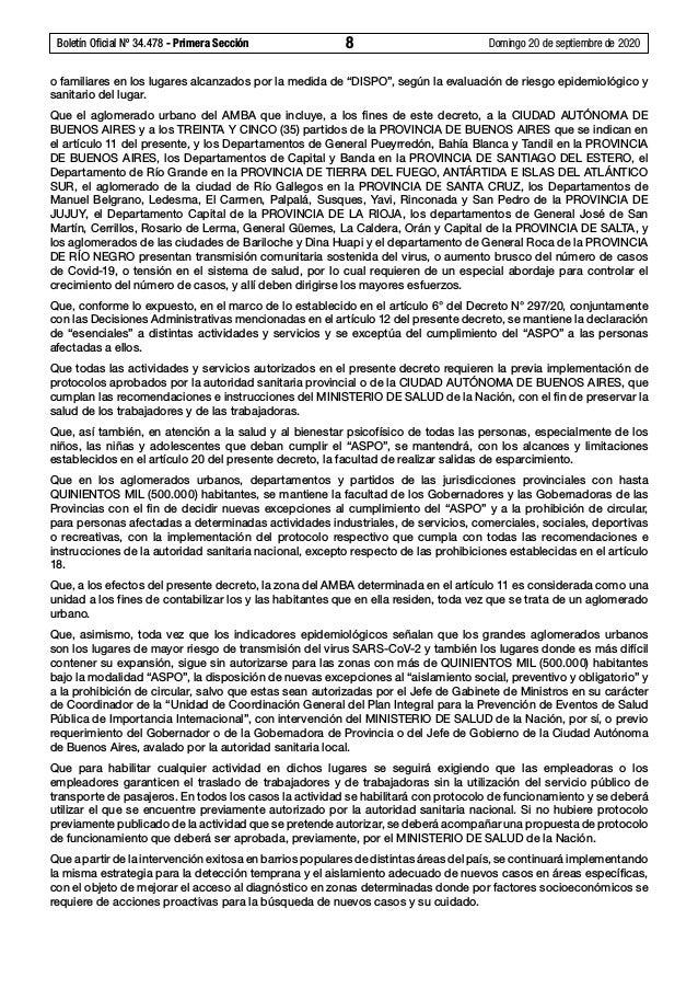 Boletín Oficial Nº 34.478 - Primera Sección 8 Domingo 20 de septiembre de 2020 o familiares en los lugares alcanzados po...