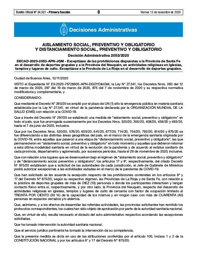 Boletín Oficial Nº 34.521 - Primera Sección 8 Viernes 13 de noviembre de 2020 Decisiones Administrativas AISLAMIENTO SOC...