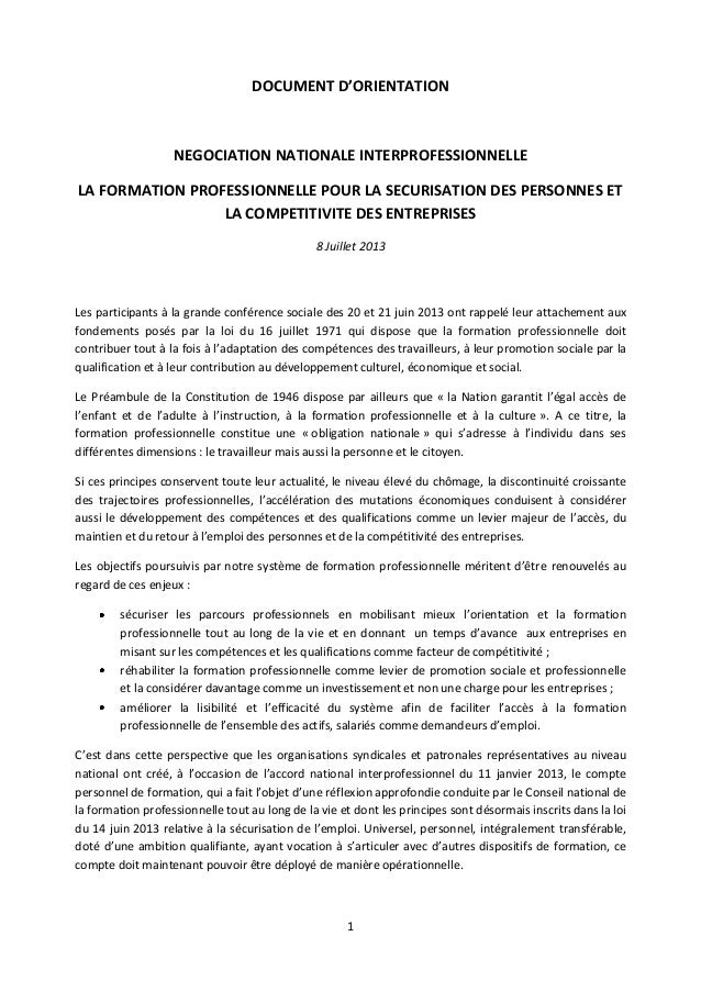 1 DOCUMENT D'ORIENTATION NEGOCIATION NATIONALE INTERPROFESSIONNELLE LA FORMATION PROFESSIONNELLE POUR LA SECURISATION DES ...