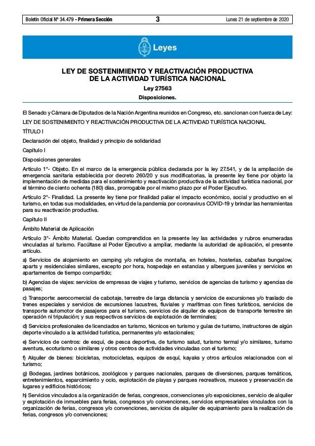 Boletín Oficial Nº 34.479 - Primera Sección 3 Lunes 21 de septiembre de 2020 Leyes LEY DESOSTENIMIENTO YREACTIVACIÓN P...