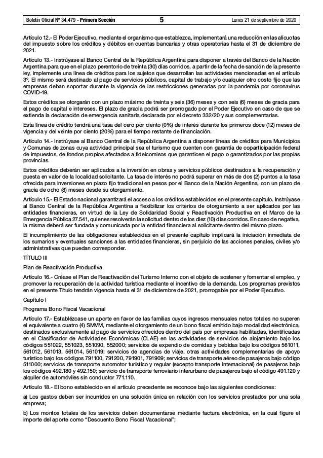 Ley N° 27.563, Ley de sostenimiento y reactivación productiva de la actividad turística Slide 3
