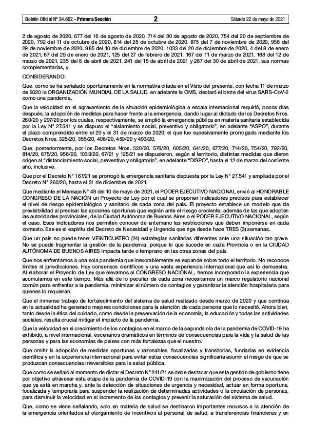 Boletín Oficial Nº 34.662 - Primera Sección 2 Sábado 22 de mayo de 2021 2 de agosto de 2020, 677 del 16 de agosto de 202...