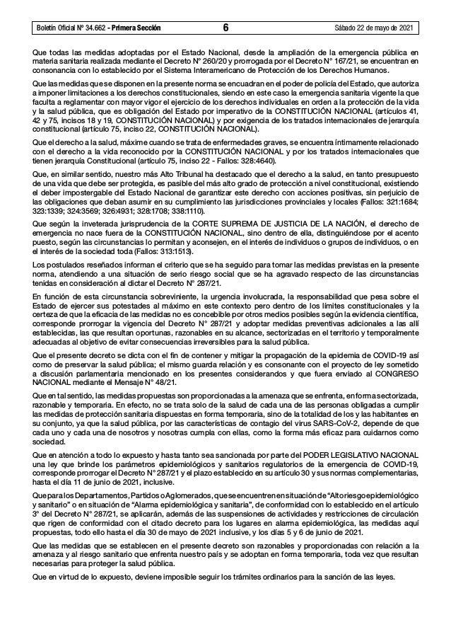 Boletín Oficial Nº 34.662 - Primera Sección 6 Sábado 22 de mayo de 2021 Que todas las medidas adoptadas por el Estado Na...