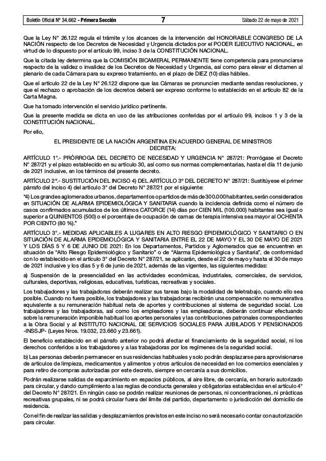 Boletín Oficial Nº 34.662 - Primera Sección 7 Sábado 22 de mayo de 2021 Que la Ley N°26.122 regula el trámite y los alc...