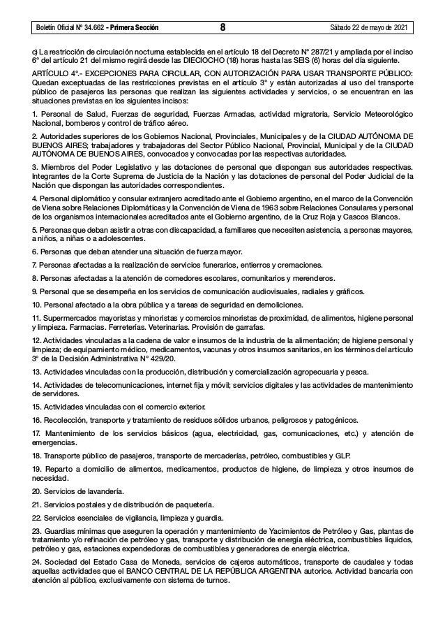 Boletín Oficial Nº 34.662 - Primera Sección 8 Sábado 22 de mayo de 2021 c) La restricción de circulación nocturna establ...