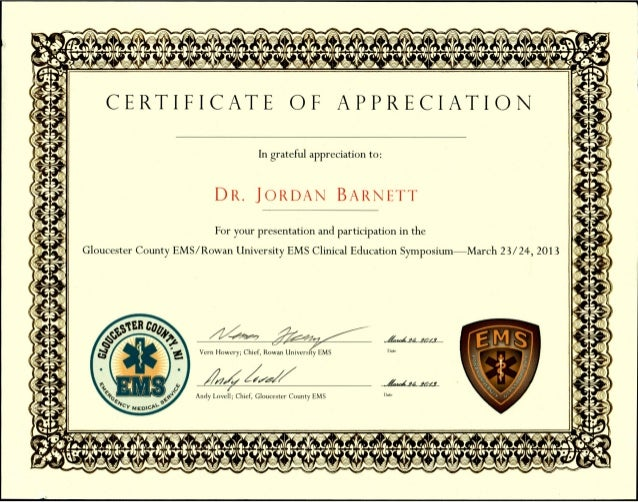 Document Certificate Of Appreciation Gloucester County Ems