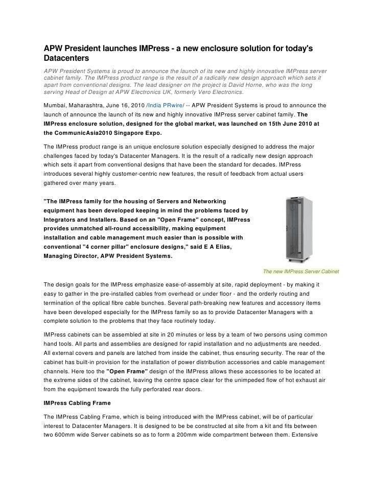 APW President launches IMPress - a new enclosure solution for today's Datacenters APW President Systems is proud to announ...