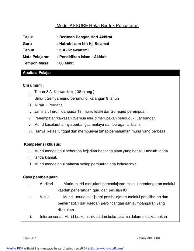 Page 1 of 7 January 2008: VTDI Model ASSURE Reka Bentuk Pengajaran Tajuk : Beriman Dengan Hari Akhirat Guru : Hairolnizam ...