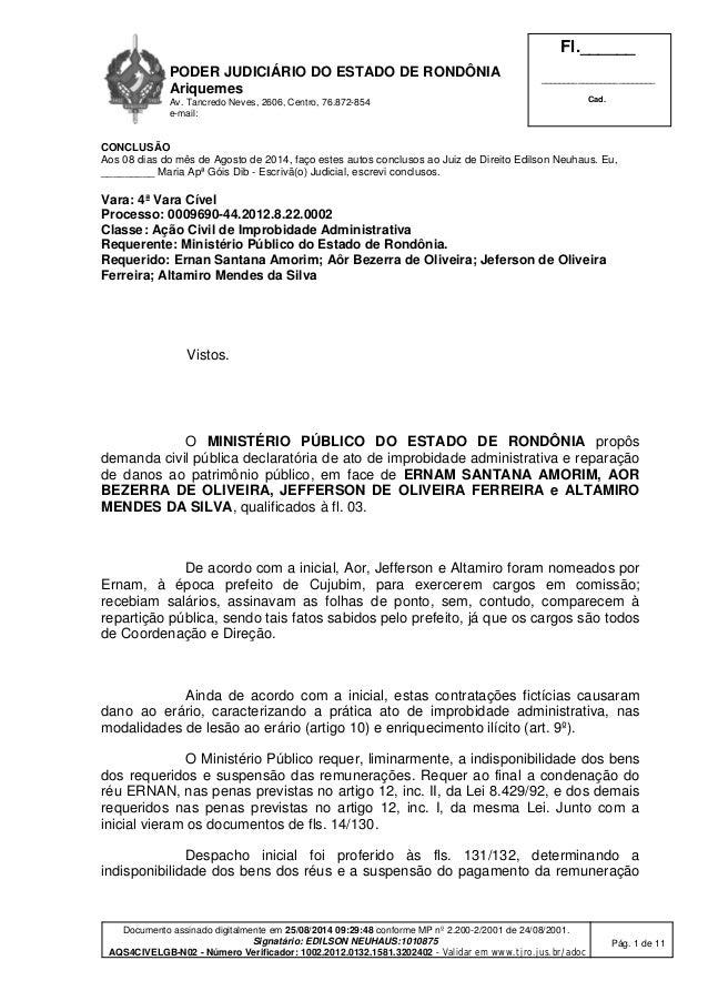 PODER JUDICIÁRIO DO ESTADO DE RONDÔNIA  Ariquemes  Av. Tancredo Neves, 2606, Centro, 76.872-854  e-mail:  Fl.______  _____...