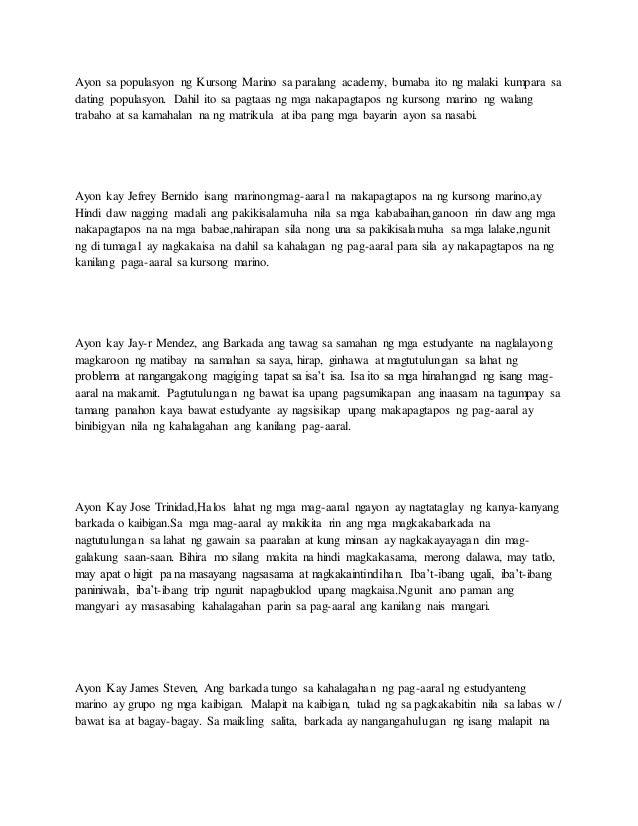 thesis tungkol sa mga marino