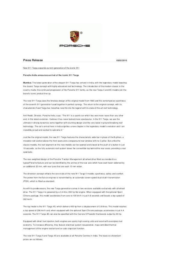 Porsche 911 Targa India launch Press Release