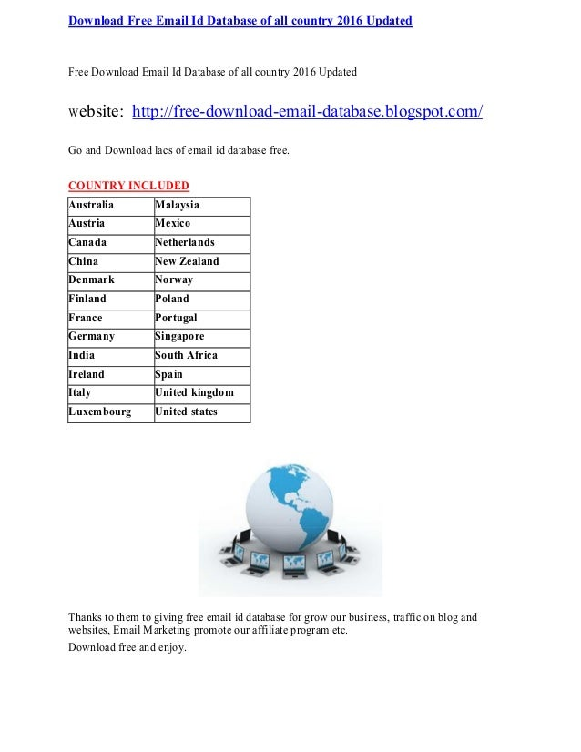 Download Free Email Id Database of all country 2016 Updated