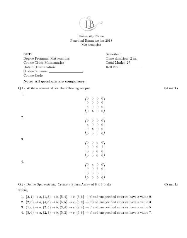 Mathematica model test paper
