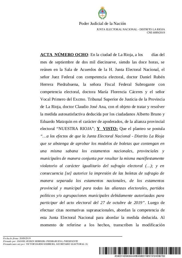 #34031439#244449049#20190919124556782 Poder Judicial de la Nación JUNTA ELECTORAL NACIONAL - DISTRITO LA RIOJA CNE 6089/20...