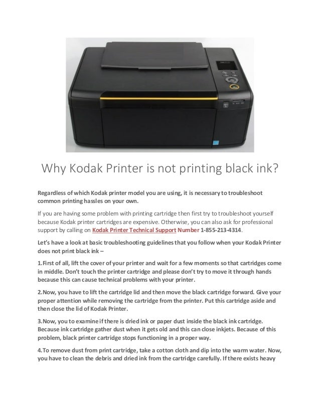 why kodak printer is not printing black ink