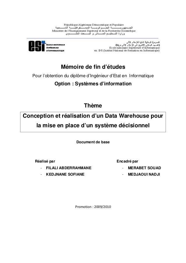 Mémoire de fin d'études   Pour l'obtention du diplôme d'Ingénieur d'Etat en Informatique              Option : Systèmes d'...