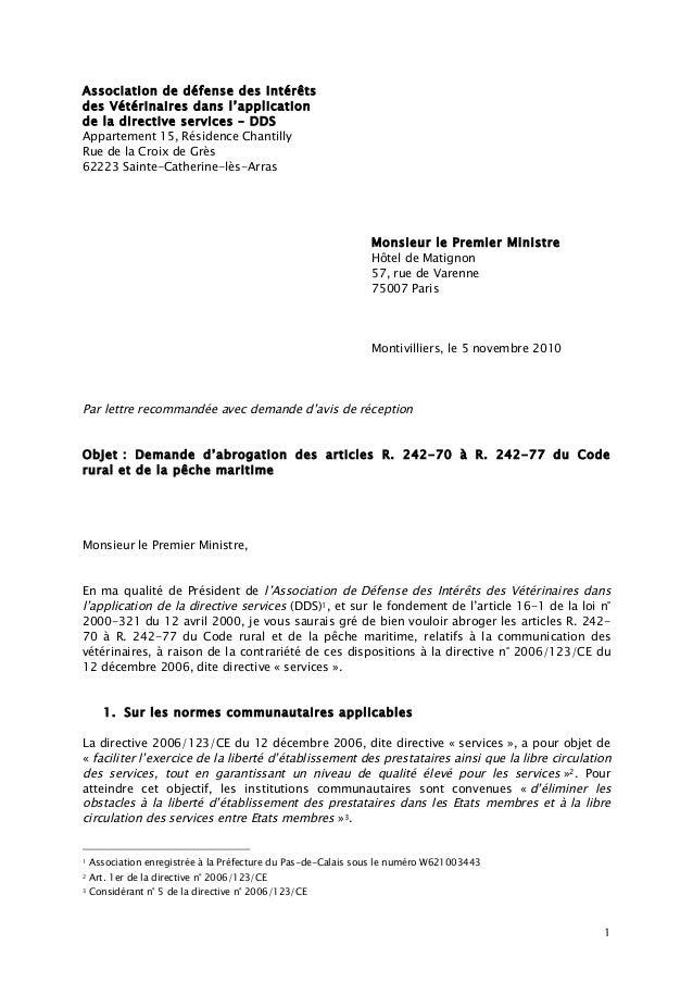 1 Association de défense des Intérêts des Vétérinaires dans l'application de la directive services – DDS Appartement 15, R...