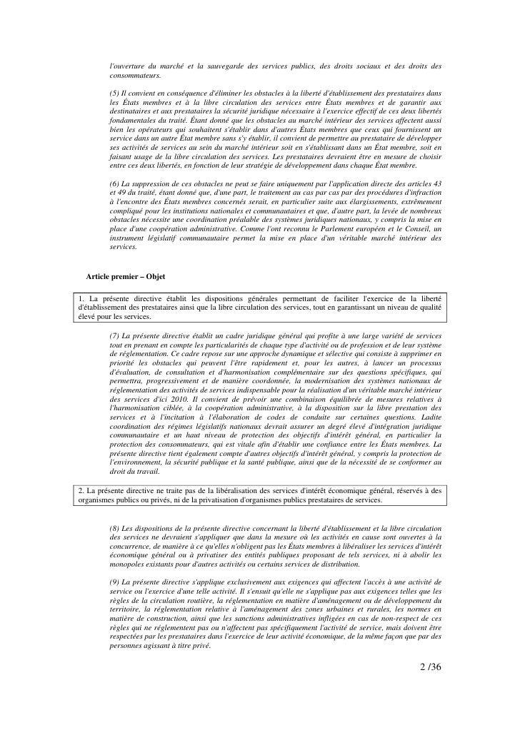 l'ouverture du marché et la sauvegarde des services publics, des droits sociaux et des droits des           consommateurs....