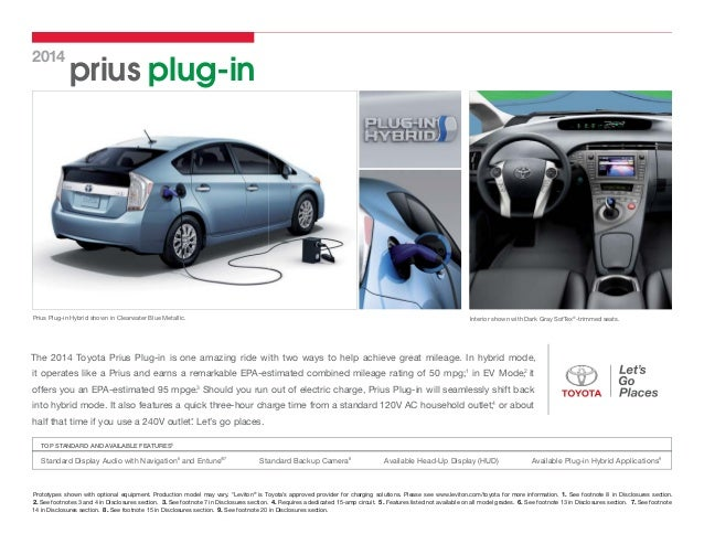 Mint Condition  2014 Toyota PRIUS// EPA-estimated 50 mpg/'s CAR Dealer Brochure 14