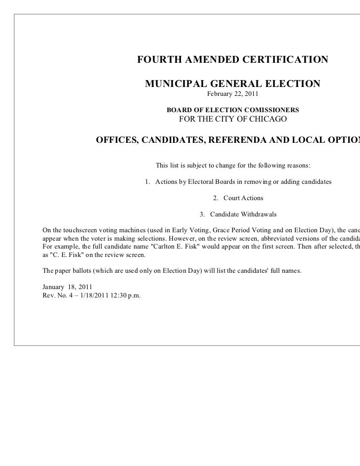 FOURTH AMENDED CERTIFICATION                                    MUNICIPAL GENERAL ELECTION                                ...