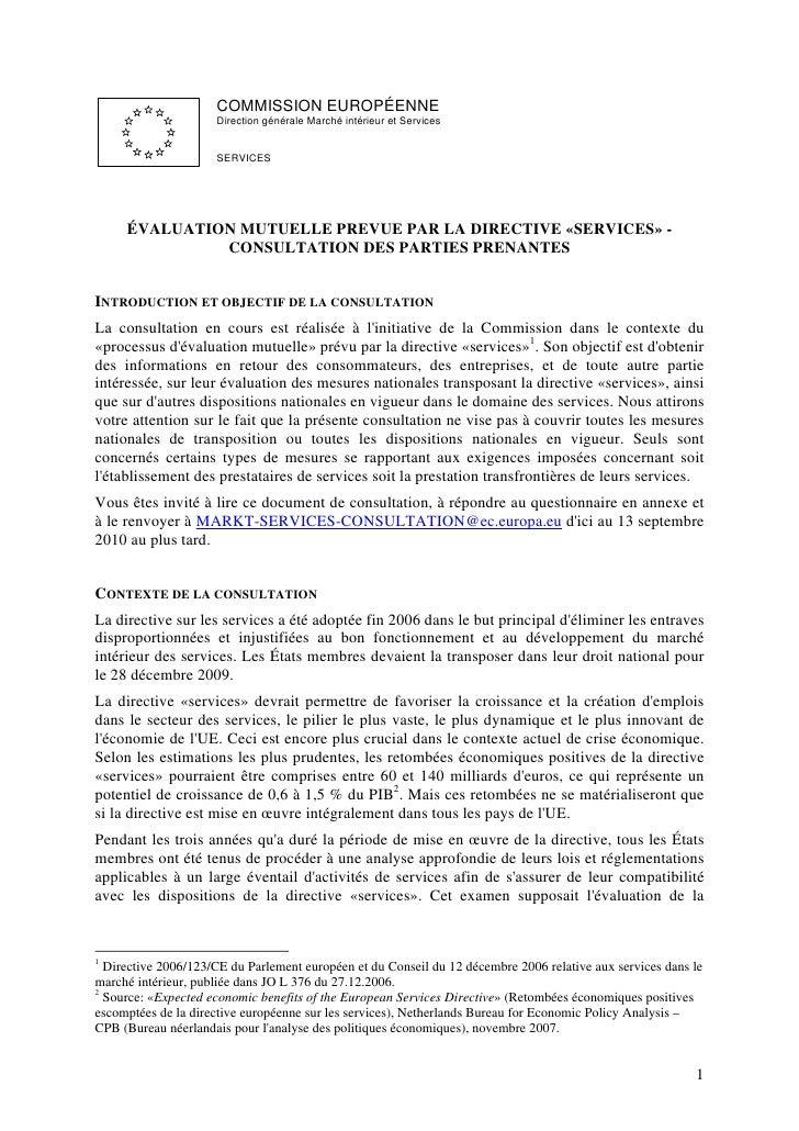 COMMISSION EUROPÉENNE                      Direction générale Marché intérieur et Services                        SERVICES...