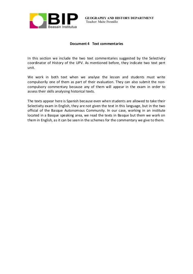 GEOGRAPHY AND HISTORY DEPARTMENT Teacher: Maite Fresnillo Document 4 Text commentaries In this section we include the two ...