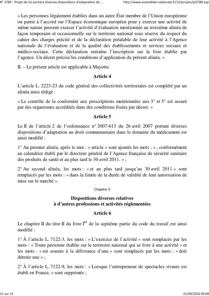 N° 2789 ‐ Projet de loi portant diverses dispositions d'adaptation de ...       http://www.assemblee‐nationale.fr/13/proje...