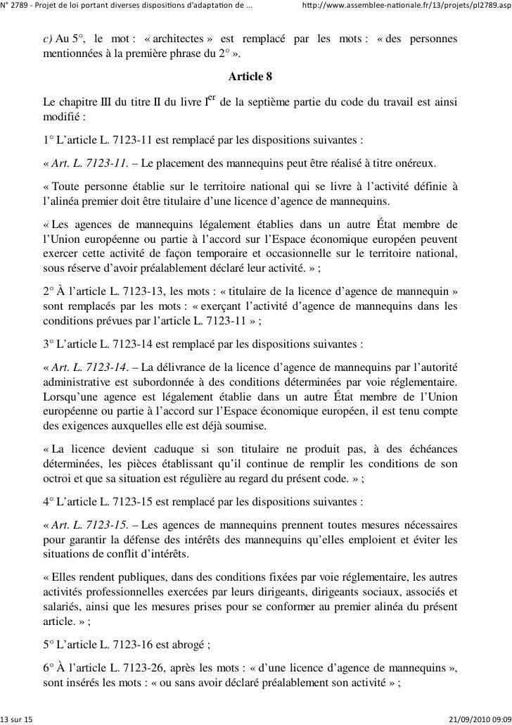 N° 2789 ‐ Projet de loi portant diverses dispositions d'adaptation de ...    http://www.assemblee‐nationale.fr/13/projets/...