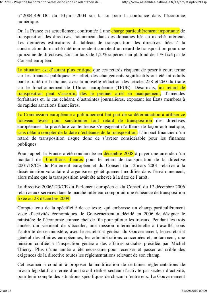 N° 2789 ‐ Projet de loi portant diverses dispositions d'adaptation de ...   http://www.assemblee‐nationale.fr/13/projets/p...